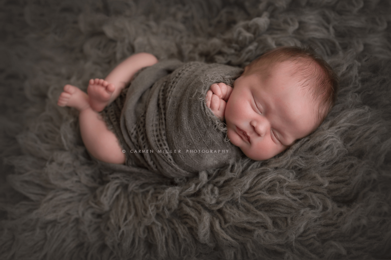 seattle newborn photographer baby boy in grey