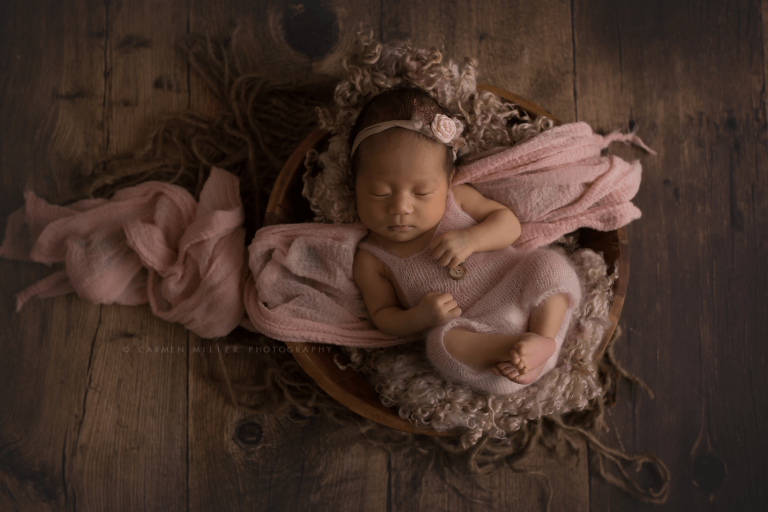 seattle newborn photographer baby girl in pink