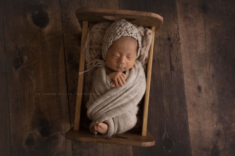 seattle newborn photographer baby girl wrapped